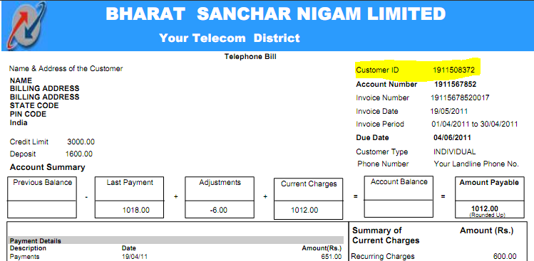 BSNL Customer ID How to Download and view BSNL Landline Bill details online