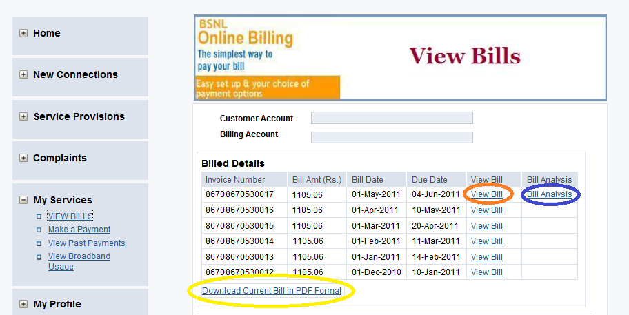 view BSNL Landline Bills 1 How to Download and view BSNL Landline Bill details online