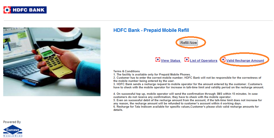 HDFC Bank Prepaid Mobile Recharge