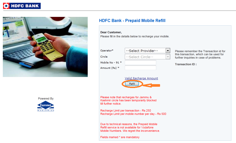 HDFC Bank online Mobile Recharge